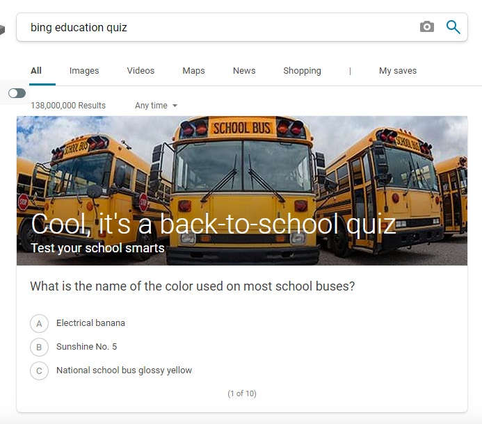 Bing Education Quiz
